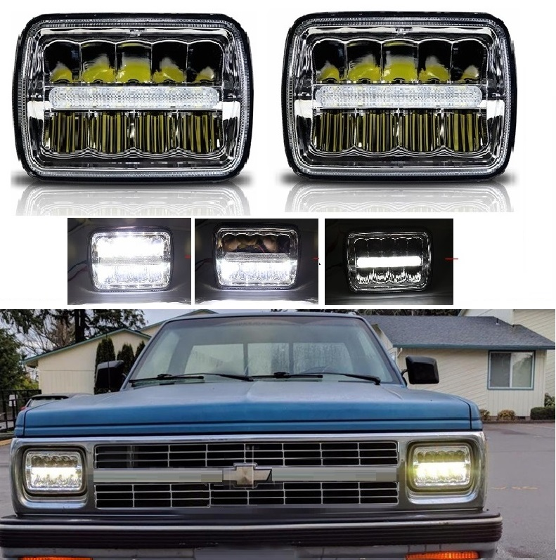 Pickup truck LED 5x7 inch Chrome Headlights 7x6 inch Square LED Headlamp Reflector Sealed Replacement for Jeep Wrangler 2pcs