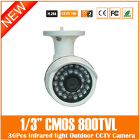 Home Security Bullet Video Camera 1 3 CMOS 800TVL 3 6mm Lens With 24Pcs IR Lights