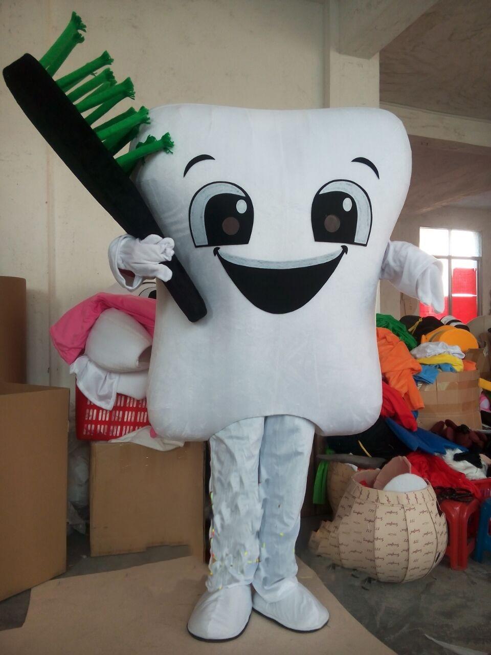 Dent mascotte Costume docteur des dents fête soins dentaires personnage mascotte robe et parc d'attractions tenue éducation à la santé
