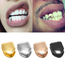 14k Gold Plated Hip Hop Teeth Grillz Caps Top or Bottom Grill False Teeth Whitening Gold Plated Small Single Tooth Cap cheap VamsLuna VL-FT01ND Metal