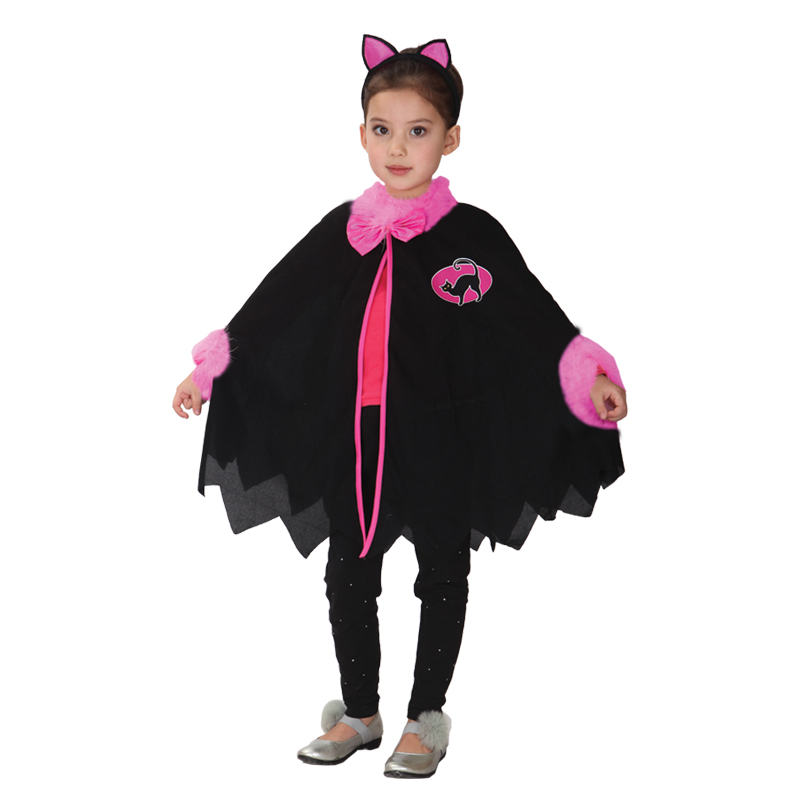 Umorden Carnival Party Halloween Costumes Child Kids Lovely Black Cat Girl Costume Cosplay Cape Fancy Dress Outfit