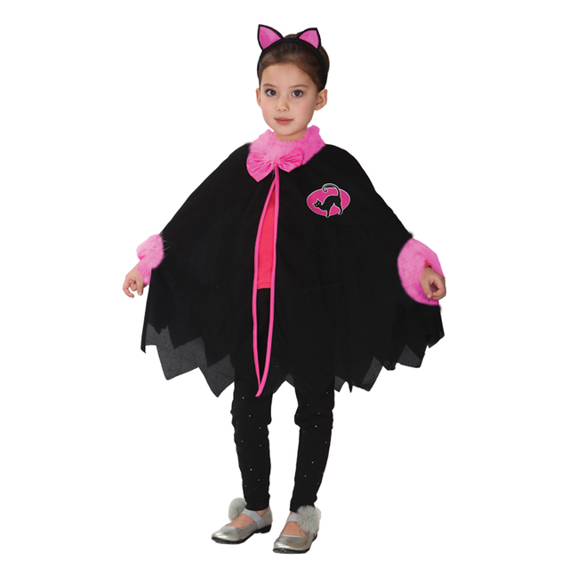 Umorden Carnival Party Halloween Costumes Child Kids Lovely Black Cat Girl  Costume Cosplay Cape Fancy Dress Outfit 17edca22dad2