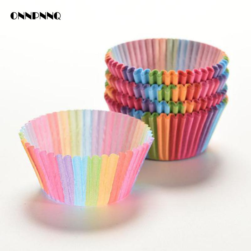 Chocolate-Mold-Holder Jelly-Molds Cardboard Baking-Tools Cakes for 100pcs/Lot Barrel-Rainbow-Side