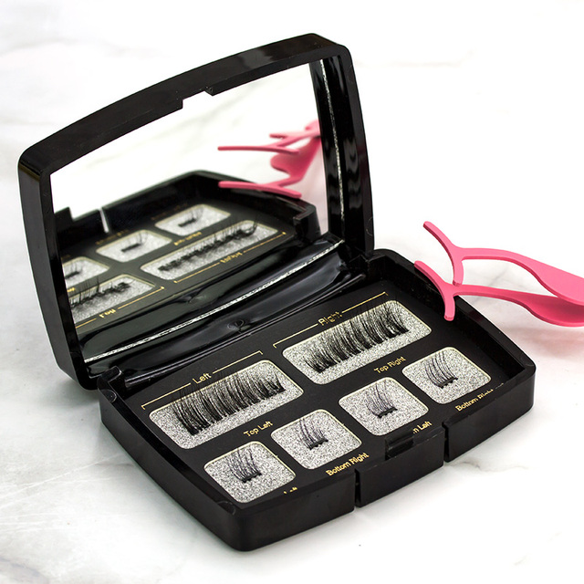 Shozy 6pcs/pair magnetic eyelashes with 2 magnets handmade natural false eyelashes with gift box mirror and tweezer-Y-KS01