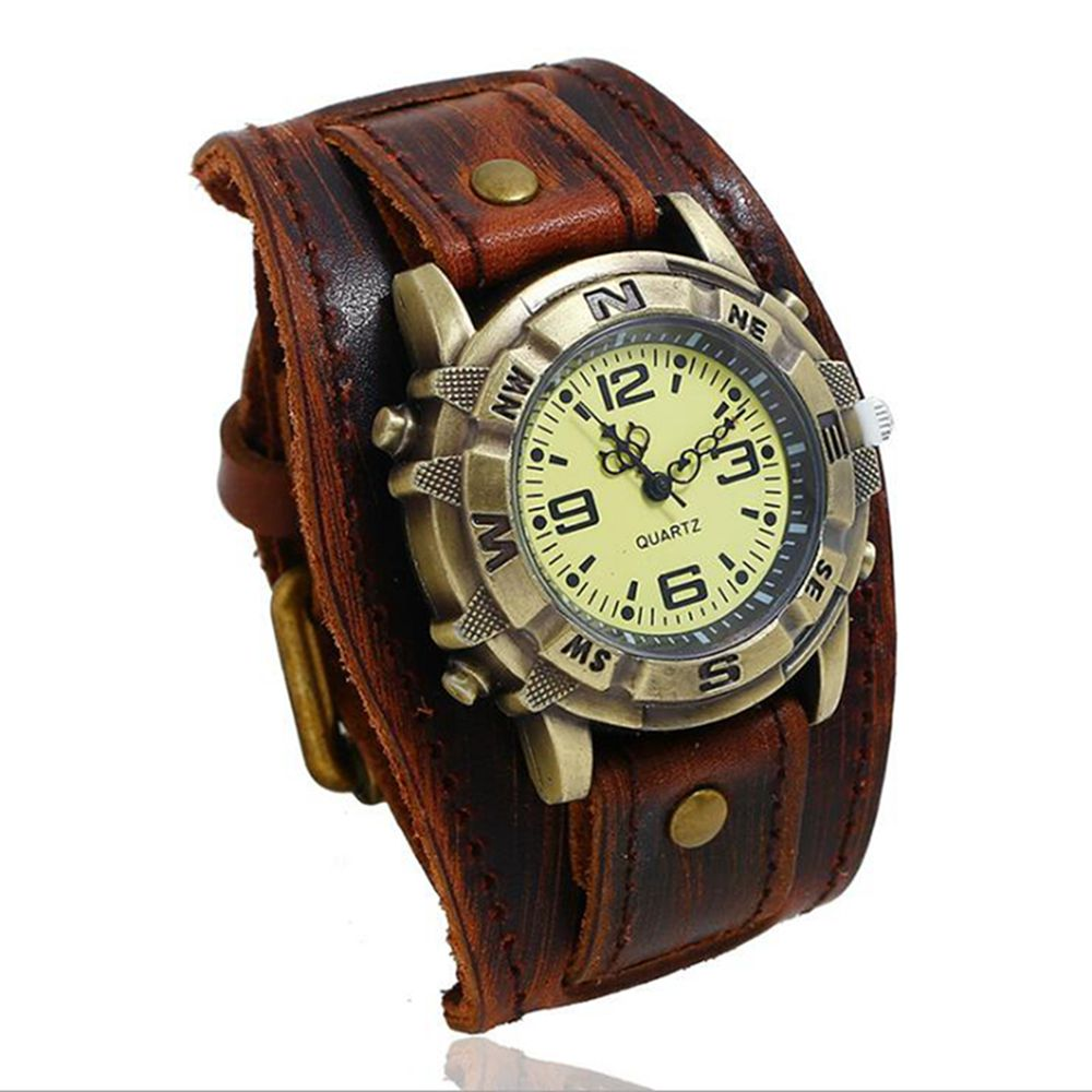 Vintage Retro Big Wide Genuine Leather Strap Watch Men Punk  Quartz Cuff Watch Wristwatches Bracelet Bangle Relogio Masculino