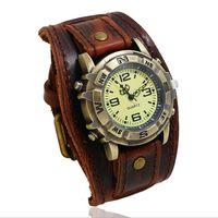 Vintage retro grande ampla pulseira de couro genuíno relógio masculino punk quartzo manguito relógio de pulso pulseira relogio masculino|Relógios femininos| |  -