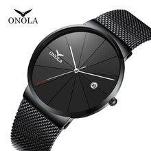 2019 ONOLA новые мужские часы Топ люксовый бренд ультра-тонкие черные водонепроницаемые часы мужские модные часы для отдыха Relogio masculino