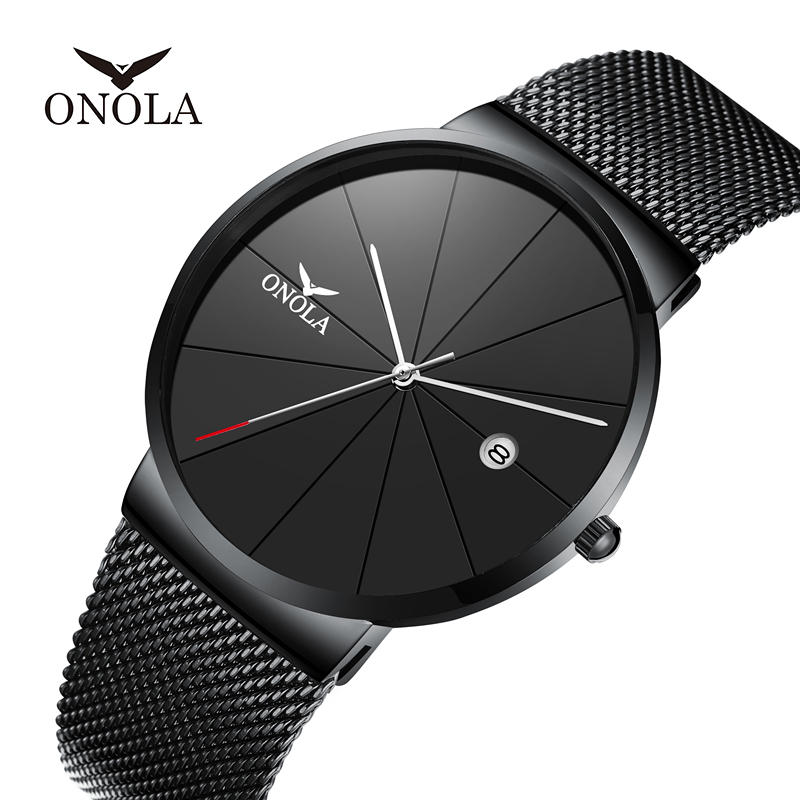 ONOLA <font><b>2019</b></font> <font><b>watch</b></font> <font><b>men</b></font> top <font><b>luxury</b></font> brand <font><b>ultra</b></font>-<font><b>thin</b></font> black waterproof часы мужские leisure fashion clock relogio masculino image