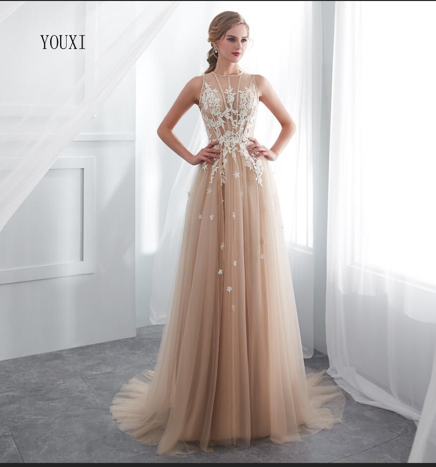 Champagne Lace Tulle A-Line Sleeveless Sexy Prom   Dress   Illusion Sheer   Evening     Dress   Gown   Evening     Dresses   2018