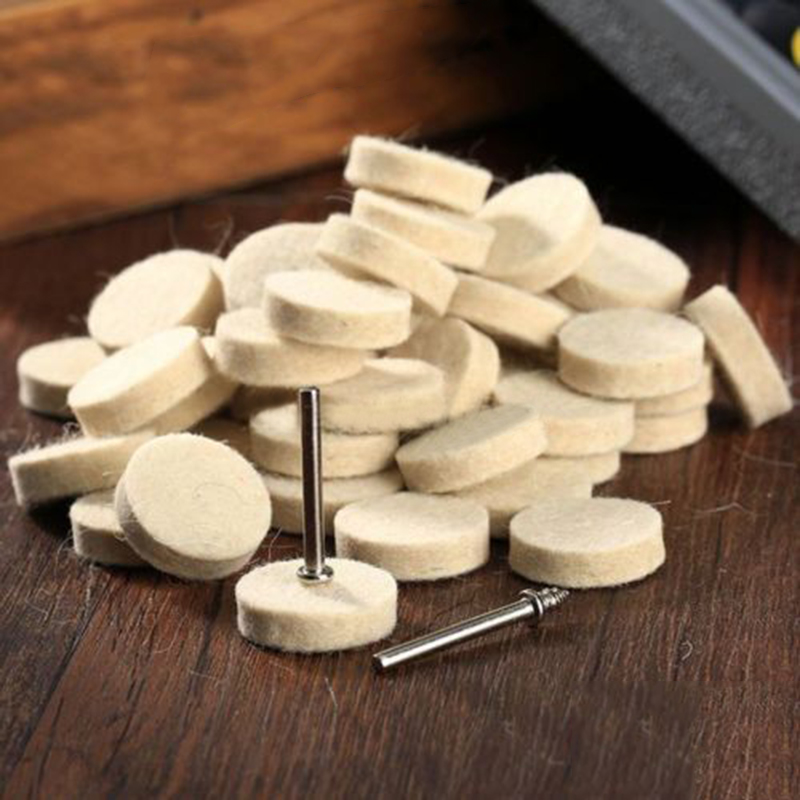 50Pcs 25mm Fine Shank Jewelry Metals Polishing Buffing Wheels Wool Felt Polisher Disc Pad Rotary Tool Accessories