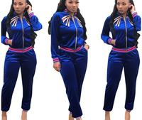 Women long trousers sports suit Velvet embroidery Spring autumn Long sleeve top coat African Clothing Zipper cardigan 2pcs/ set