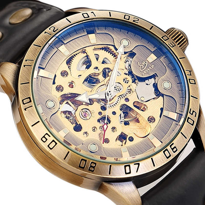 Vintage Steampunk Automatic Watch Luxury Men Skeleton Stainless Steel Leather Casual Mechanical Wristwatch Engraved Reloj Mujer men s skeleton mechanical watch classic transparent steampunk wristwatch stainless steel watch ll