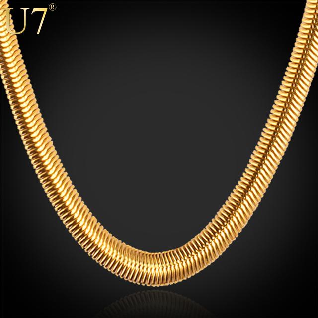 U7 hombres de cadena de joyería collar choker/amarillo largo mans hiphop al por mayor de acero inoxidable de color oro 6mm cadena de la serpiente n336