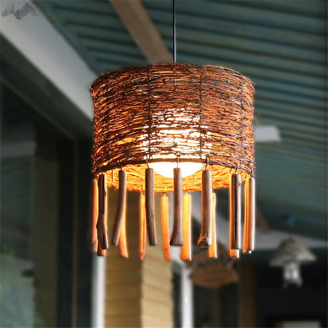 Jw new creative rattan bamboo pendant light handmade southeast asian restaurant living room bar cafe authentic pendant