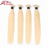 Wicca Fashion Brazilian Straight Hair Bundles Weave Platinum Blonde Full 613 Color Non Remy 100 Human