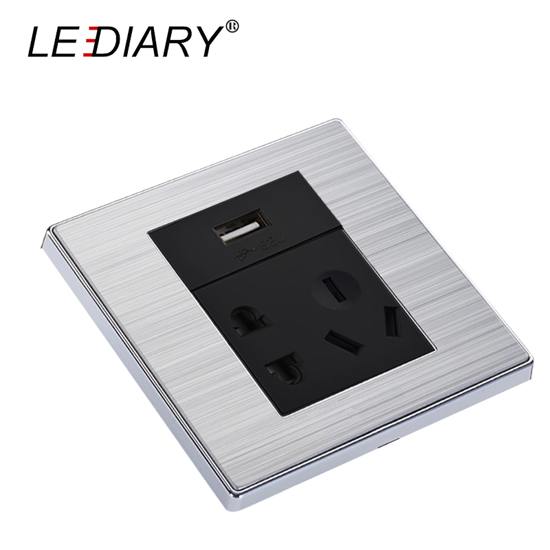 LEDIARY Wall Socket AC 110V-250V EU/UK/US/AU 2-pin/3-pin With 5V USB Charger for Phone 3-hole/5-hole Simple USB Universal ac 125v 3a 3 pin terminal aviation plugs connectors joint for 10mm panel hole page 5 page 3 page 3