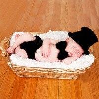 יילוד צילום Props בייבי בנים תלבושות כפת כובע מכנסיים עניבת פרפר בגדי סט סרוגה לסרוג תלבושות אבזרי תמונה תינוק