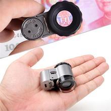 9882A 50X ręczny mikroskop LED Mini biżuteria szkło powiększające lupa z oświetleniem LED 1PC J3 tanie tanio Handheld LED Mini Magnifying Glass Led light VAHIGCY metal plastic acrylic lens
