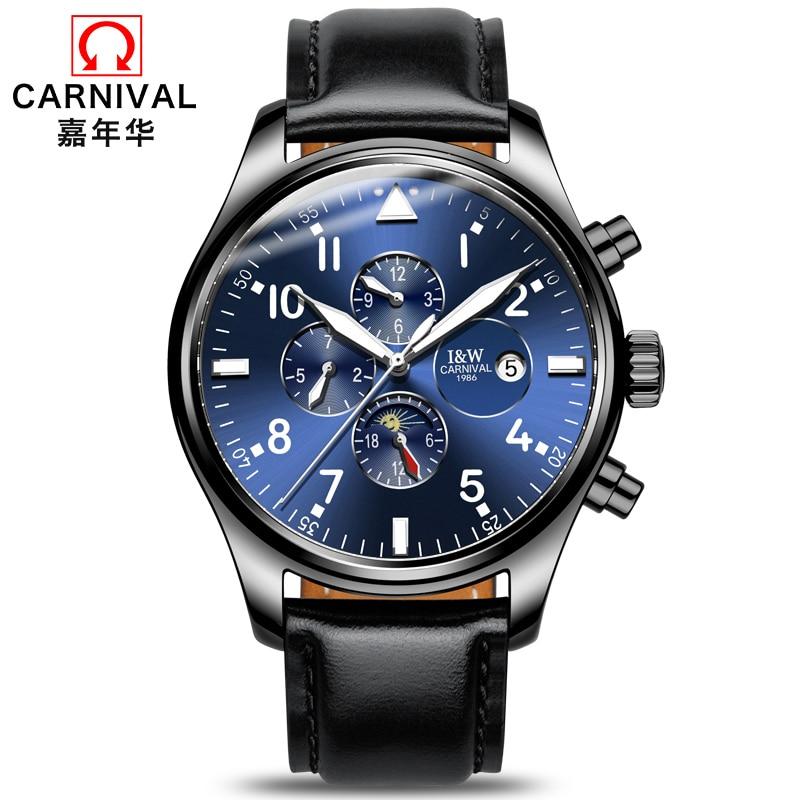 New Luxury Watch Top brand CARNIVAL Auto mechanical Watches Men Watch Hardlex Calendar Luminous Waterproof Business Casual Sport