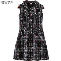 NIWIY Brand Designer Dresses Runway 2017 High Quality Autumn Tweed Women Dress Vestidos Mujer Casual Christmas