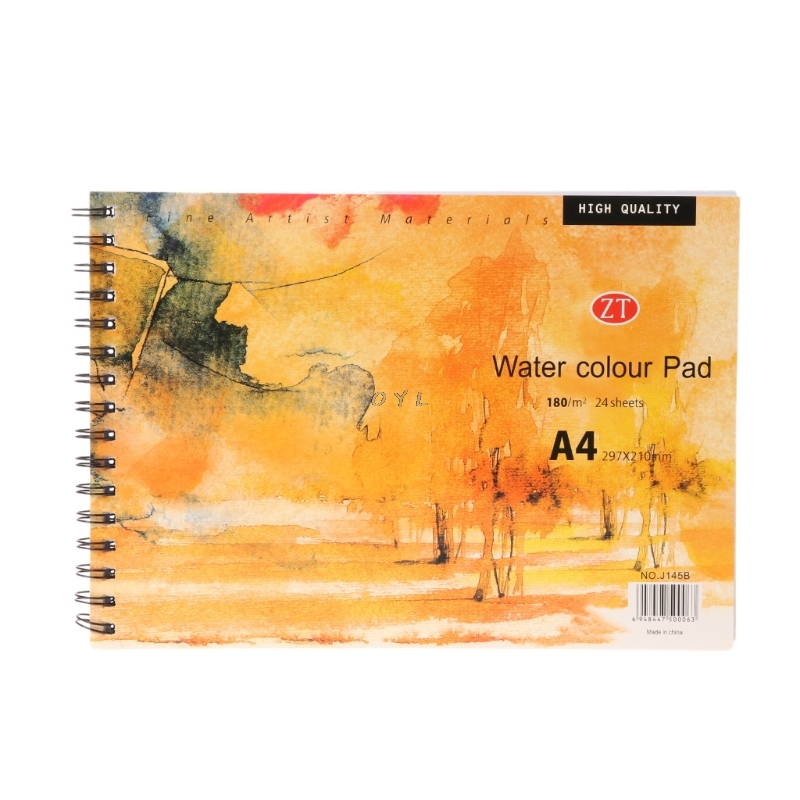 A4 Watercolor Paper Art Artist Sketchbook Sketch Pad Drawing Painting 24 Sheet arts&crafts supplies for kids