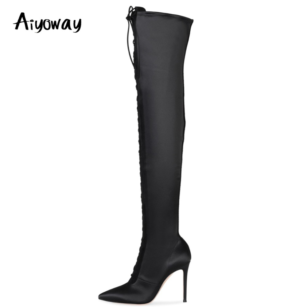 Aiyoway New Fashion Women Ladies Pointed Toe High Heel Over Knee Boots Black Satin Lace Up Winter Thigh High Long Boots