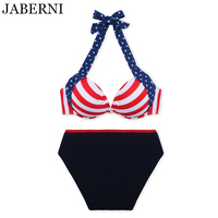 JABERNI Push Up Bikini Set Stripe Swimwear Women 3 Pieces Tankini Swimsuit Halter Top Bathing Suit