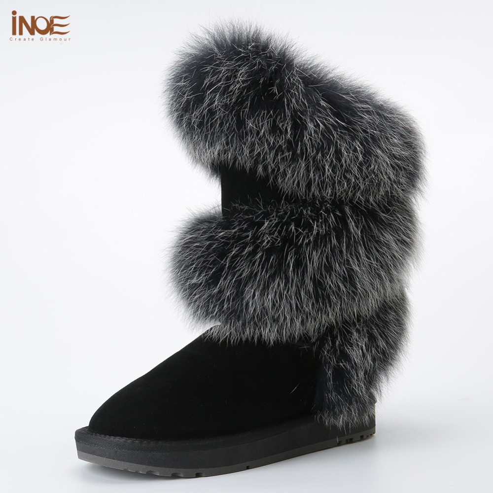 new style fashion real fox fur women high winter flats snow boots cow suede leather winter shoes black grey high quality inoe fashion big fox fur real cow split leather high winter snow boots for women winter shoes tall boots waterproof high quality