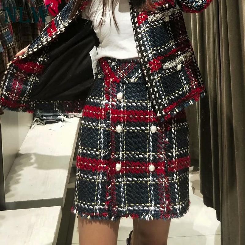 NLW Sexy High Waist Plaid Button Women Skirts Blend Feminino Mini Skirts Casual Short Winter Tweed Skirt