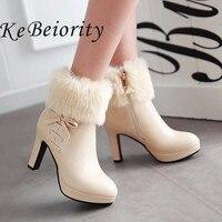 New 2016 High Heels Boots Women Autumn And Winter Boots Platform Shoes Thin Heel Women Black