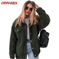 2019winter warm jacket ladies artificial wool lamb coat coat fashion long sleeved fur Loose coat female outdoor jacket cloth hot