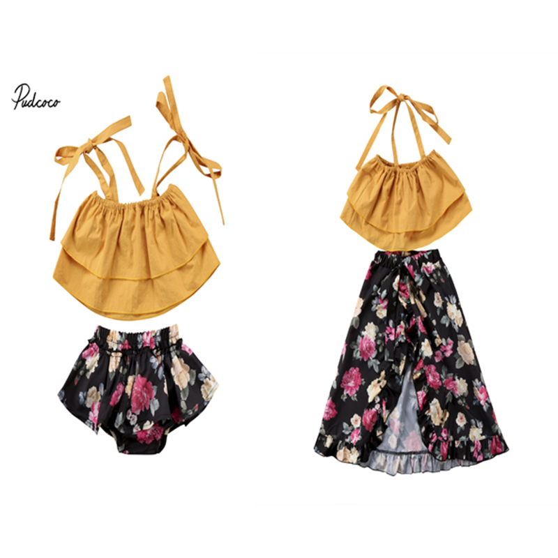 Family Clothing Set Toddler Baby Kids Girls Sisters Floral Off Shoulder Strap Tops Shorts Skirt Dress Outfits Set Summer 2pcs floral toddler girl clothing 2017 summer kids clothes baby girls off shoulder ruffle crop tops high waist shorts outfits set 3pc
