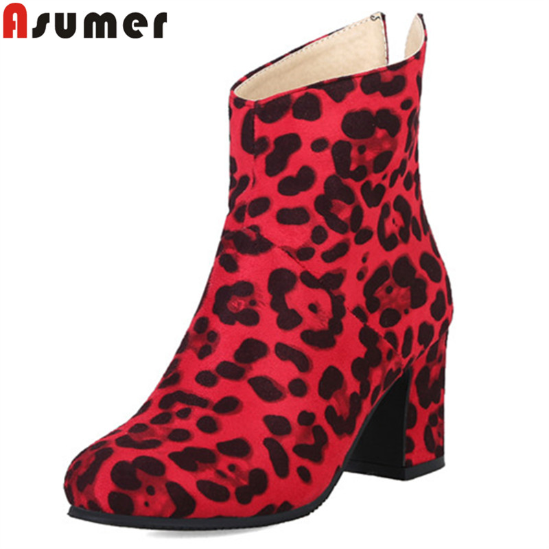 все цены на ASUMER fashion autumn winter boots plus size round toe zip ankle boots for women flock Leopard Print thick high heels boots