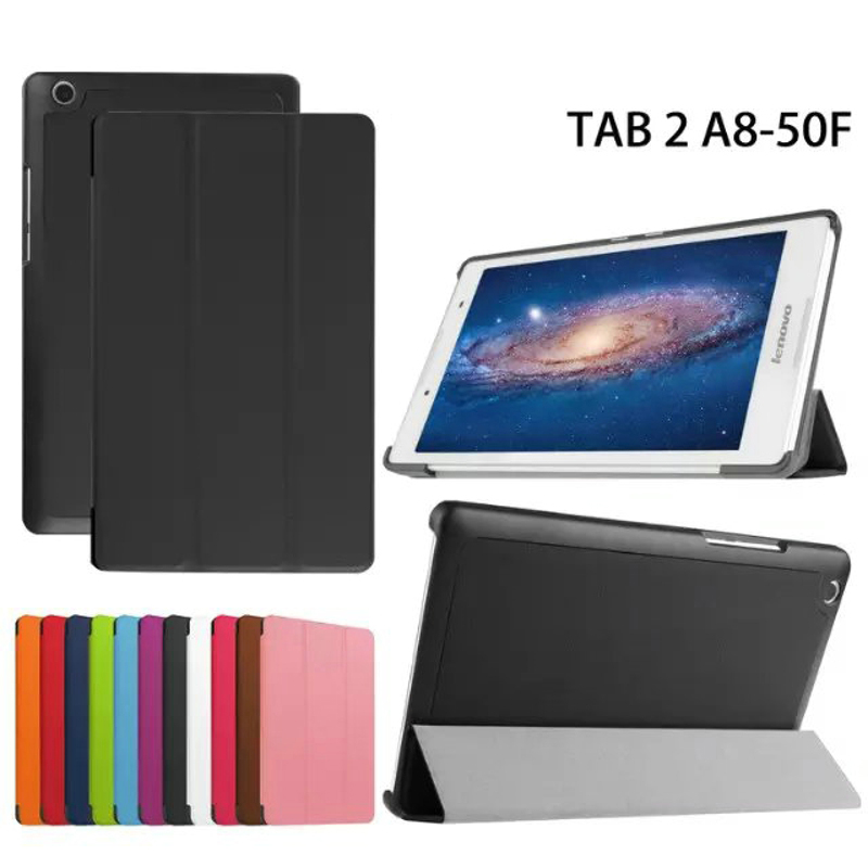 Galleria fotografica 3-Folding Ultra Thin Slim Sleeve Magnetic Folio Stand Leather Case Smart Cover For Lenovo Tab 2 Tab2 A8-50 A8-50F A8-50LC 8