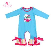 Kaiya Angel Hot Baby Jumpsuit Bulk Long Sleeve Romper Newborn Infant Clothing Girl Boy Blue Owl Bow Winter clothes