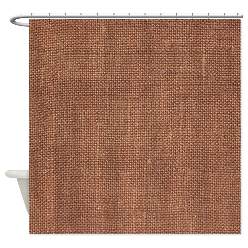Brown Fabric Curtain Shower Decorative 12 Hooks Curtains Bath