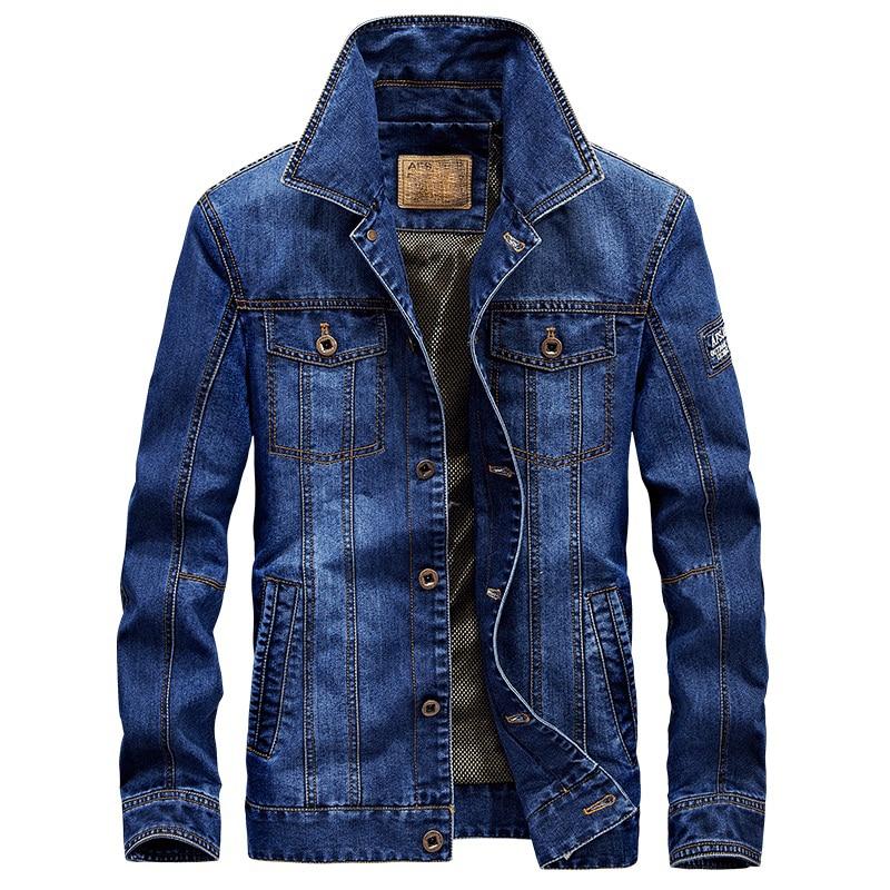AFS JEEP men's denim jacket fashion & casual retro brand jeans jacket men Autumn chaqueta hombre veste homme plus size 4XL