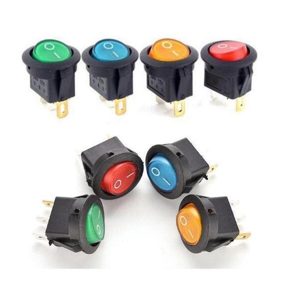 BỘ 5 12V 220V LED illuminuted đính đá công tắc 20A 12V nút ấn công tắc Xe nút đèn/TẮT Vòng đèn