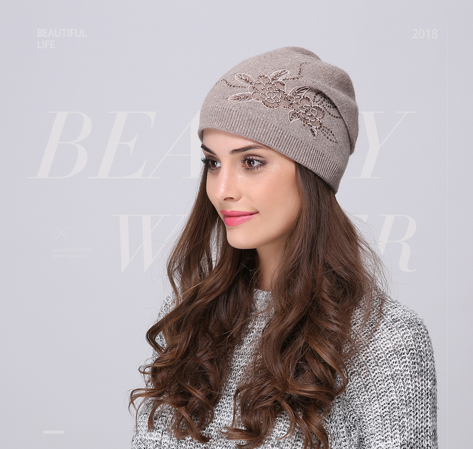 Andybeatty Women s Winter Hats Knitted Wool Skullies Casual Cap with ... 55a37b078bd9
