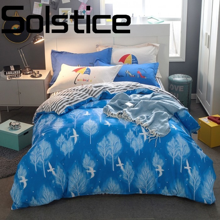 Solstice Home Textile Comfortable cotton breathable active printing letters cartoon zipper bedding sheets quilt cover pillowcase