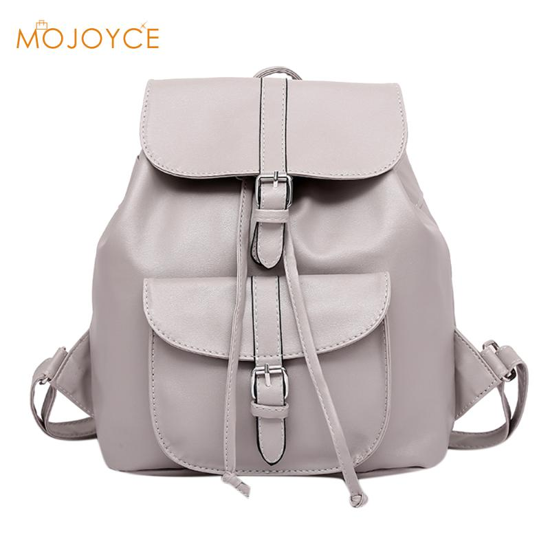 Women Casual PU Leather Backpack Drawstring Travel Shcool Bag For Teenage Girls Preppy Chic Backpack Small Backpacks Mochila New