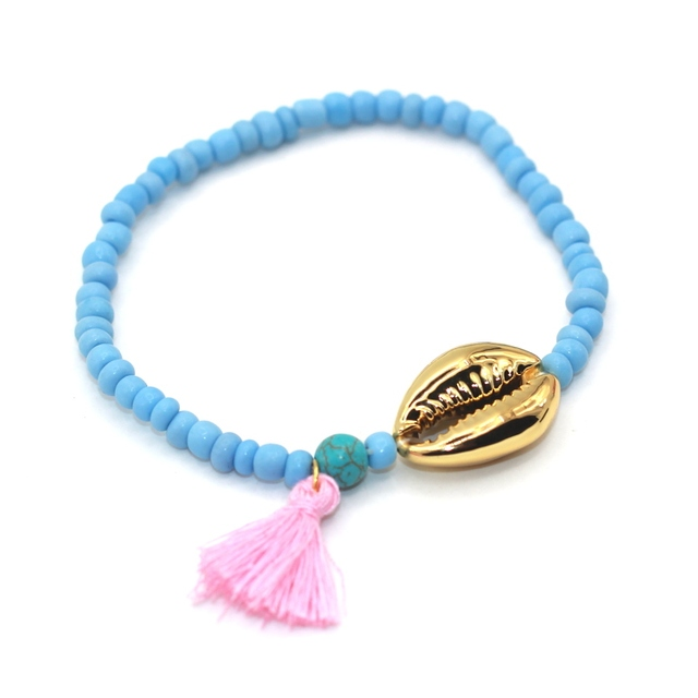 4869523aad18 Véritable Coque de Haute Qualité Argent Plaqué Perles De Rocaille Bohême  Style Gland Femmes Bracelet
