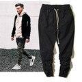 Kanye West High-rua Moda Lápis Calças Dos Homens Hip hop Skates Motocicleta Pant Mens Corredores Calça Preta de Cintura Elástica 36