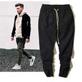 Kanye West High-street Fashion Pencil Pants Men Hip hop Skateboards Motorcycle Pant Mens Black Trousers Elastic Waist Joggers 36