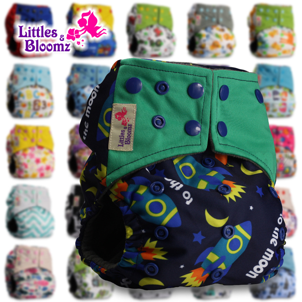 Pattern 9 Set of 1 Reusable Pocket Cloth Nappy Fastener: Popper Littles /& Bloomz with 1 Bamboo Insert