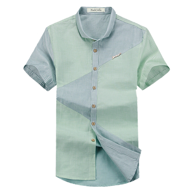 2016 hot selling cotton short sleeve Striped Patchwork slim Casual office dress Shirts men's shirts summer fashion 3 Colors 59
