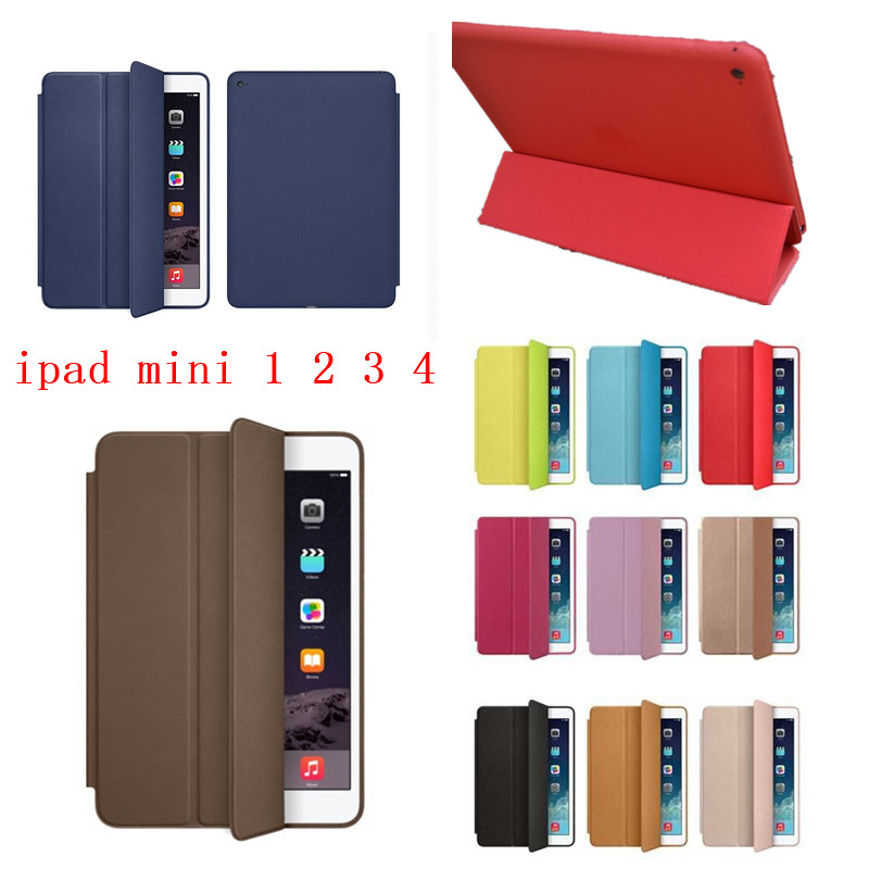 High quality Super Slim Smart Case for Apple iPad Mini 4 Case iPad Mini 1 2 3 Original Ultra Flip PU Leather Stand cover Case apple ipad mini smart case black mgn62zm a