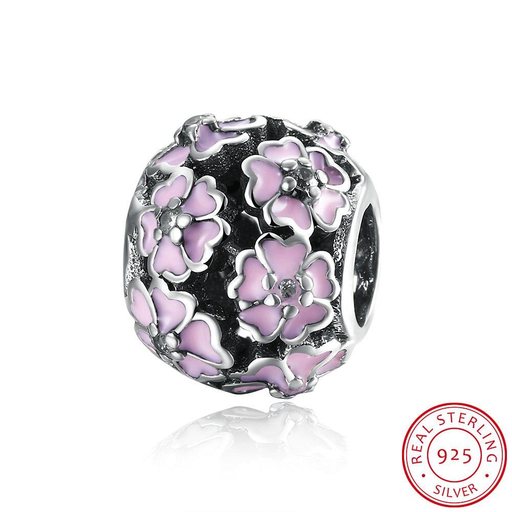 GOMAYA 925 Silver Pendant Bracelet Enamel Series Pink Daisy Accessories Wholesaler For Women Ladies Bracelets in Beads from Jewelry Accessories