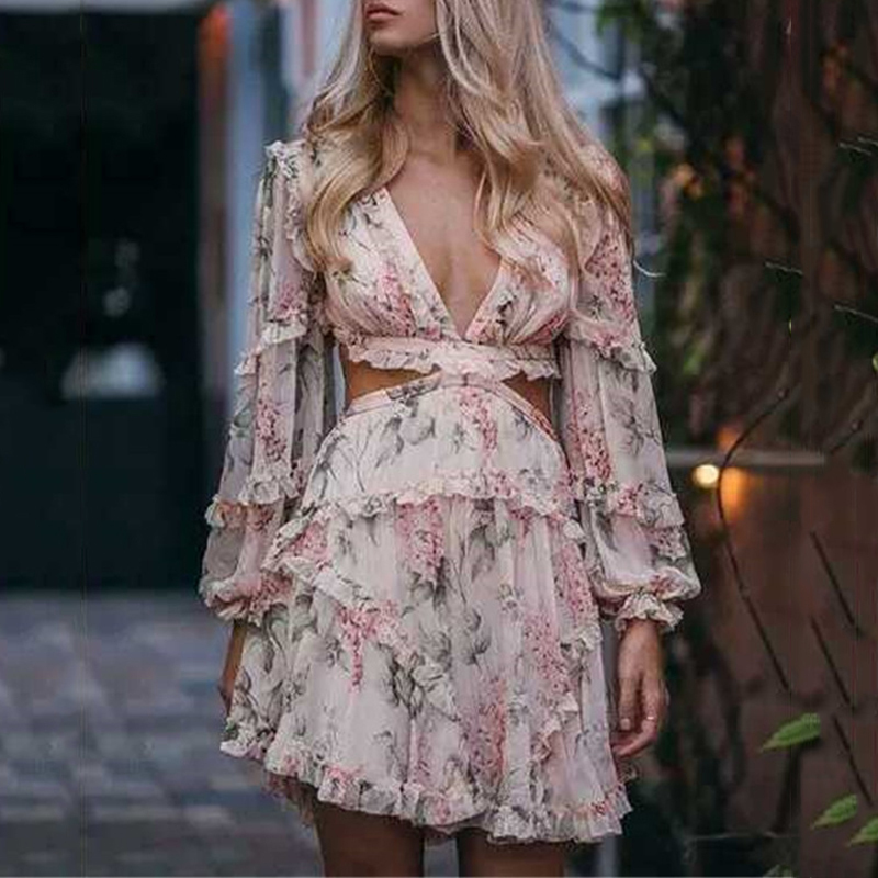 MIAOQING Print Hollow Out Sexy Women Dress V Neck Lantern Sleeve High Waist Ruffles Mini Dresses Female Fashion 2019 Summer