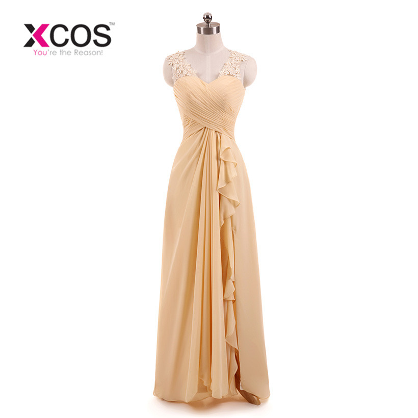 XCOS Champagne Lace Appliques Bridesmaid Dresses Long Floor Length Junior Prom Dress Black Bridesmaids Dresses for Wedding